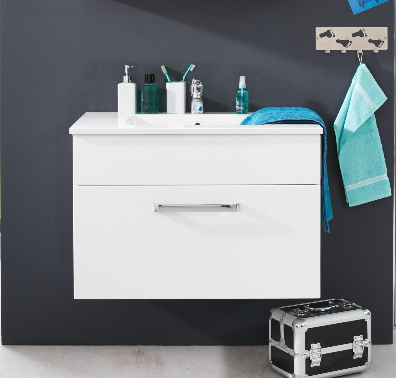 Waschbecken Unterschrank Adamo weiß hochglanz Badezimmer Bad ...