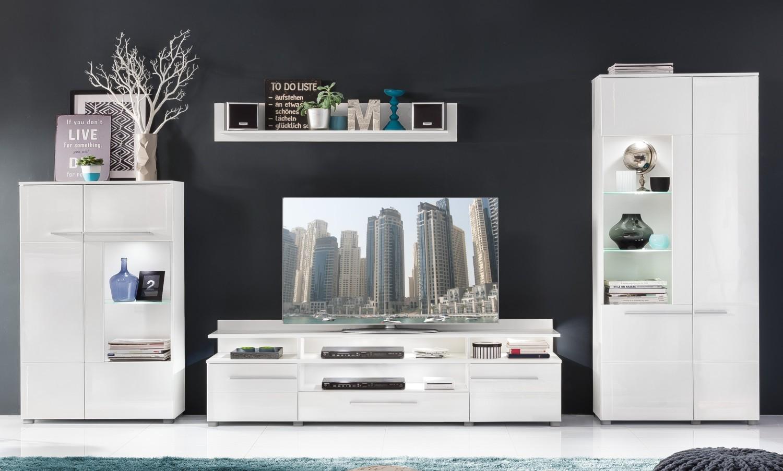 anbauwand vision wei hochglanz beleuchtung wohnwand wohnzimmer schrankwand ebay. Black Bedroom Furniture Sets. Home Design Ideas