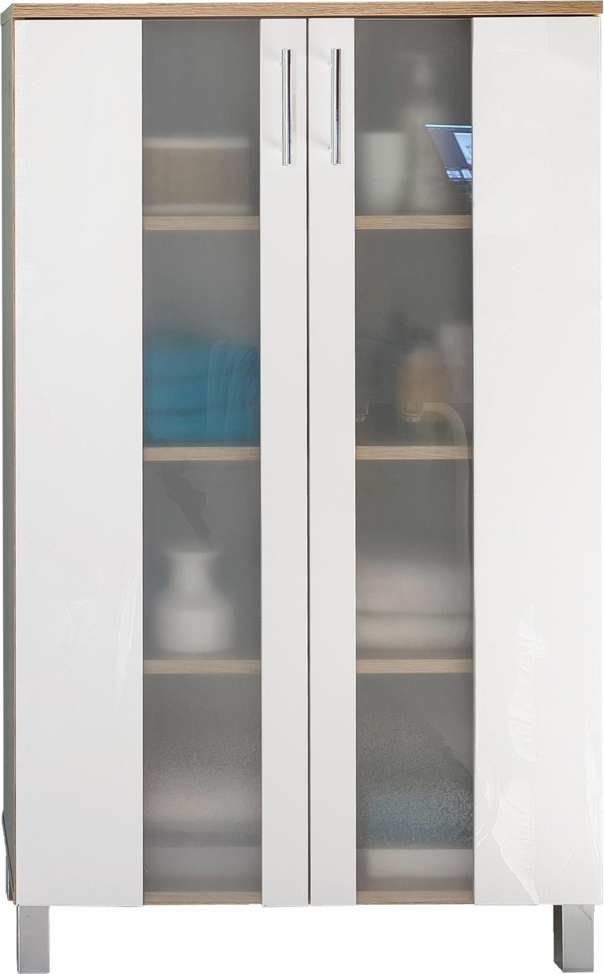 Badezimmer Midischrank Porto Bad Eiche Sägerau Weiß Glas Bad Schrank Möbel