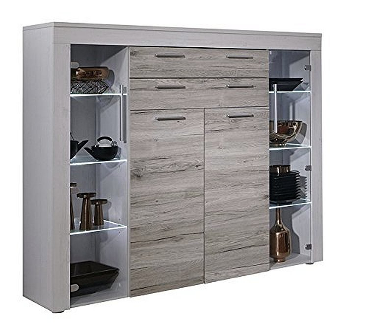 highboard boom eiche sand pinie wei kommode sideboard. Black Bedroom Furniture Sets. Home Design Ideas