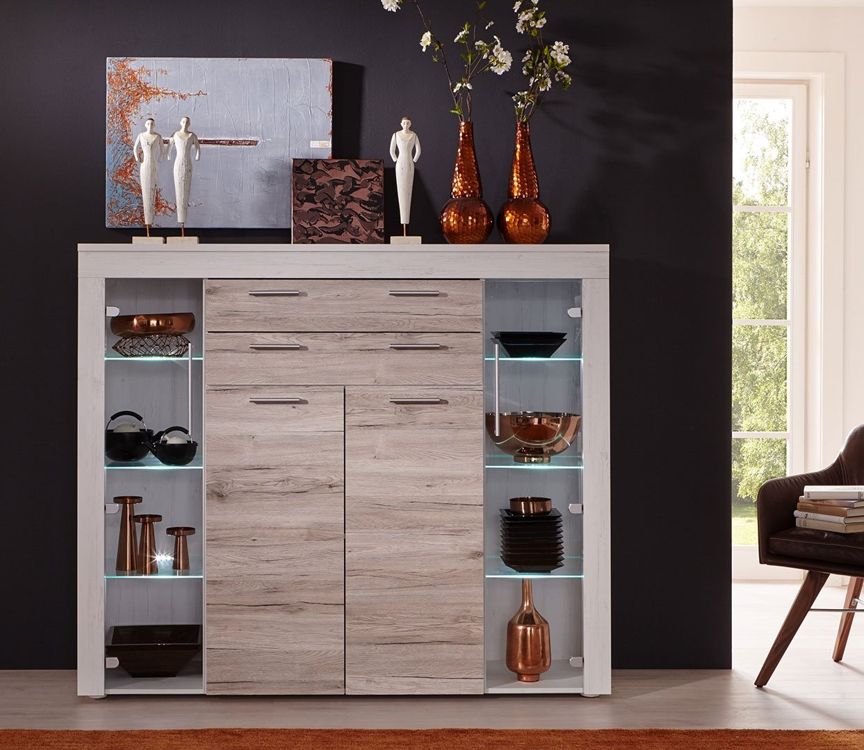 highboard boom eiche sand pinie wei kommode sideboard schrank wohnzimmer holz m bel wohnen. Black Bedroom Furniture Sets. Home Design Ideas