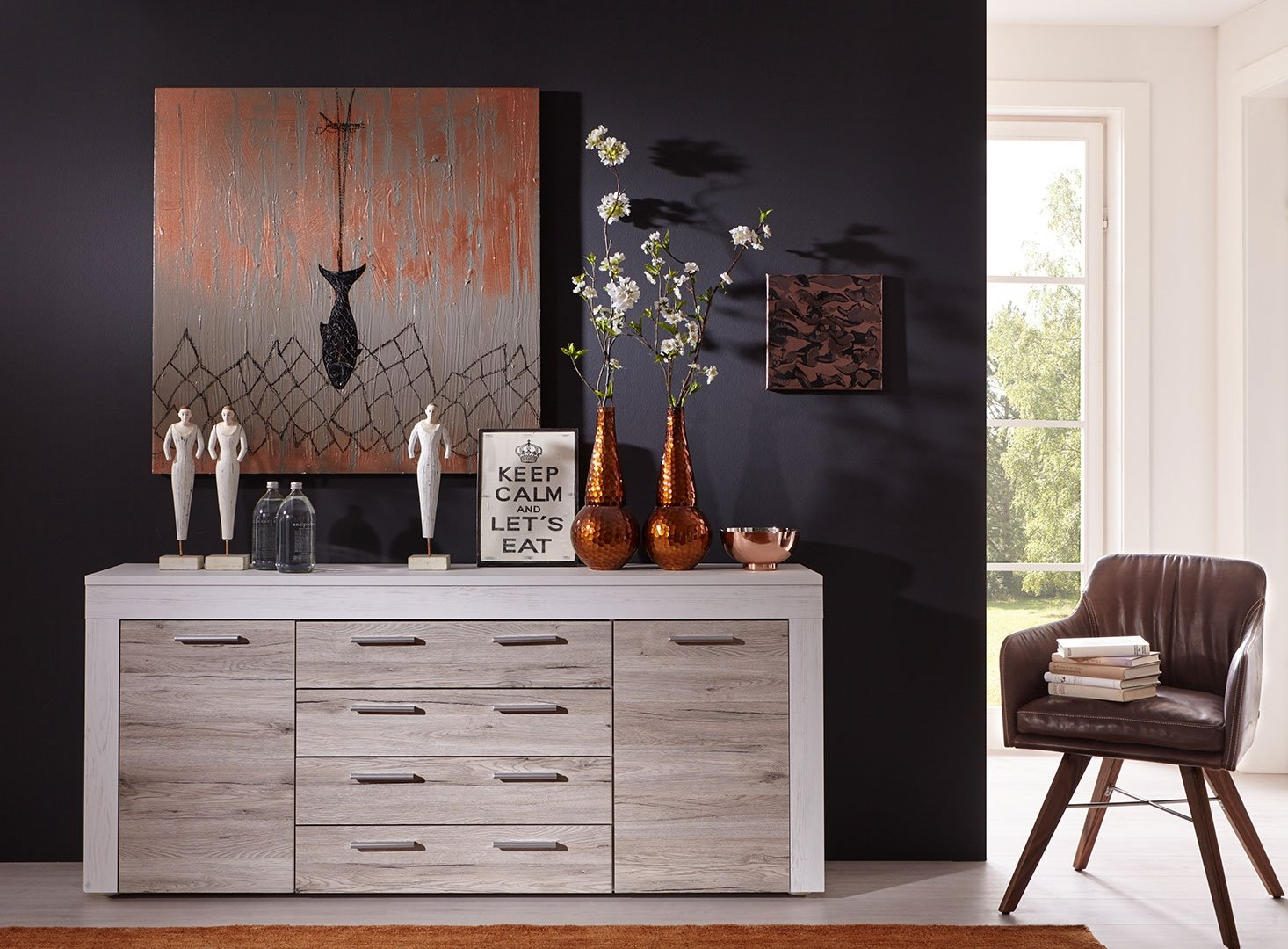 sideboard boom eiche sand pinie wei kommode schrank wohnzimmer holz highboard ebay. Black Bedroom Furniture Sets. Home Design Ideas