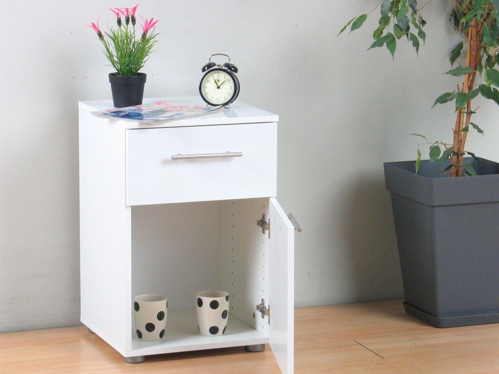nachttisch infiniti wei hochglanz nachtschrank nachtkonsole beistelltisch ebay. Black Bedroom Furniture Sets. Home Design Ideas