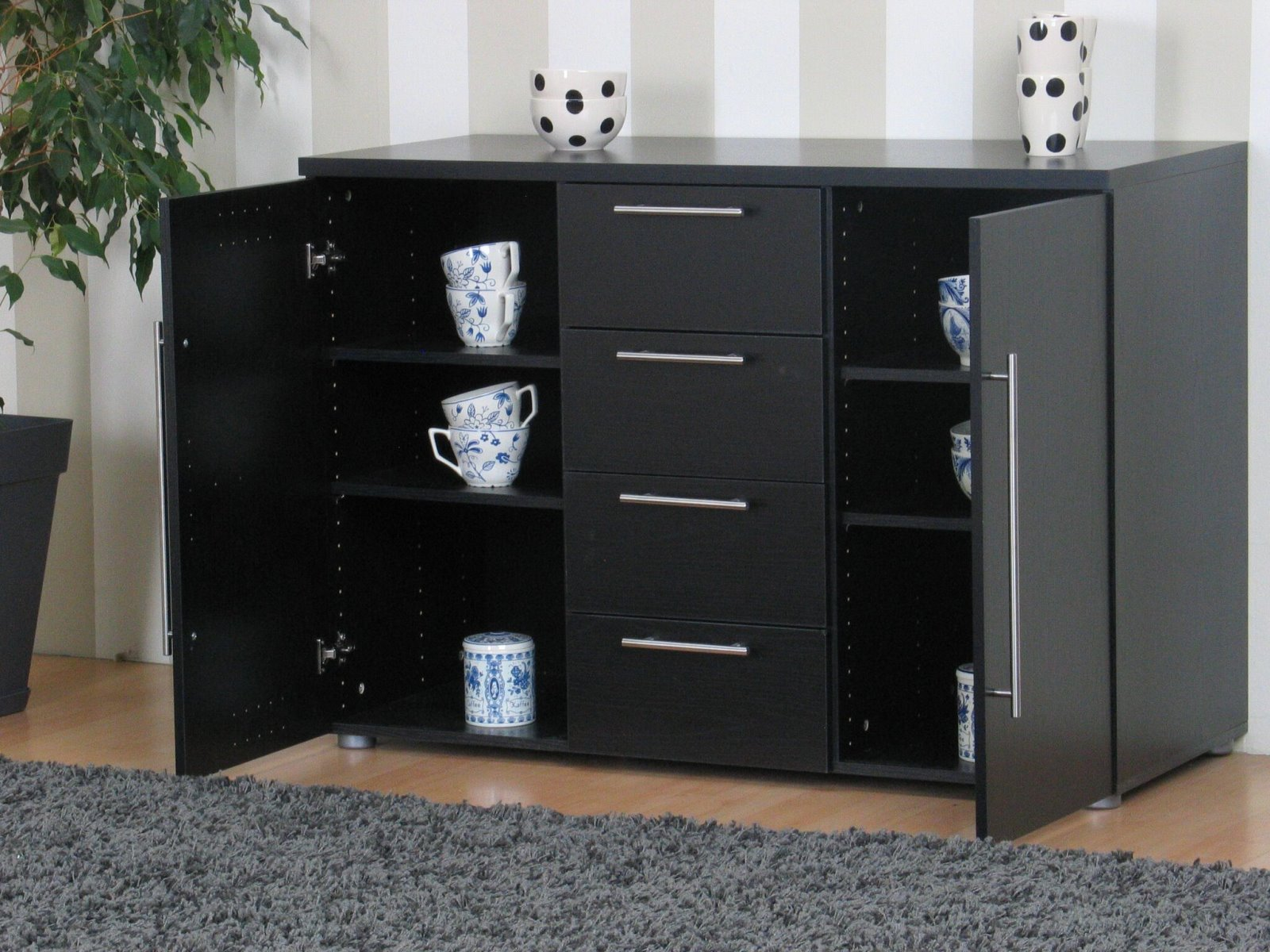 sideboard danny schwarz esche dekor schrank anrichte ebay. Black Bedroom Furniture Sets. Home Design Ideas