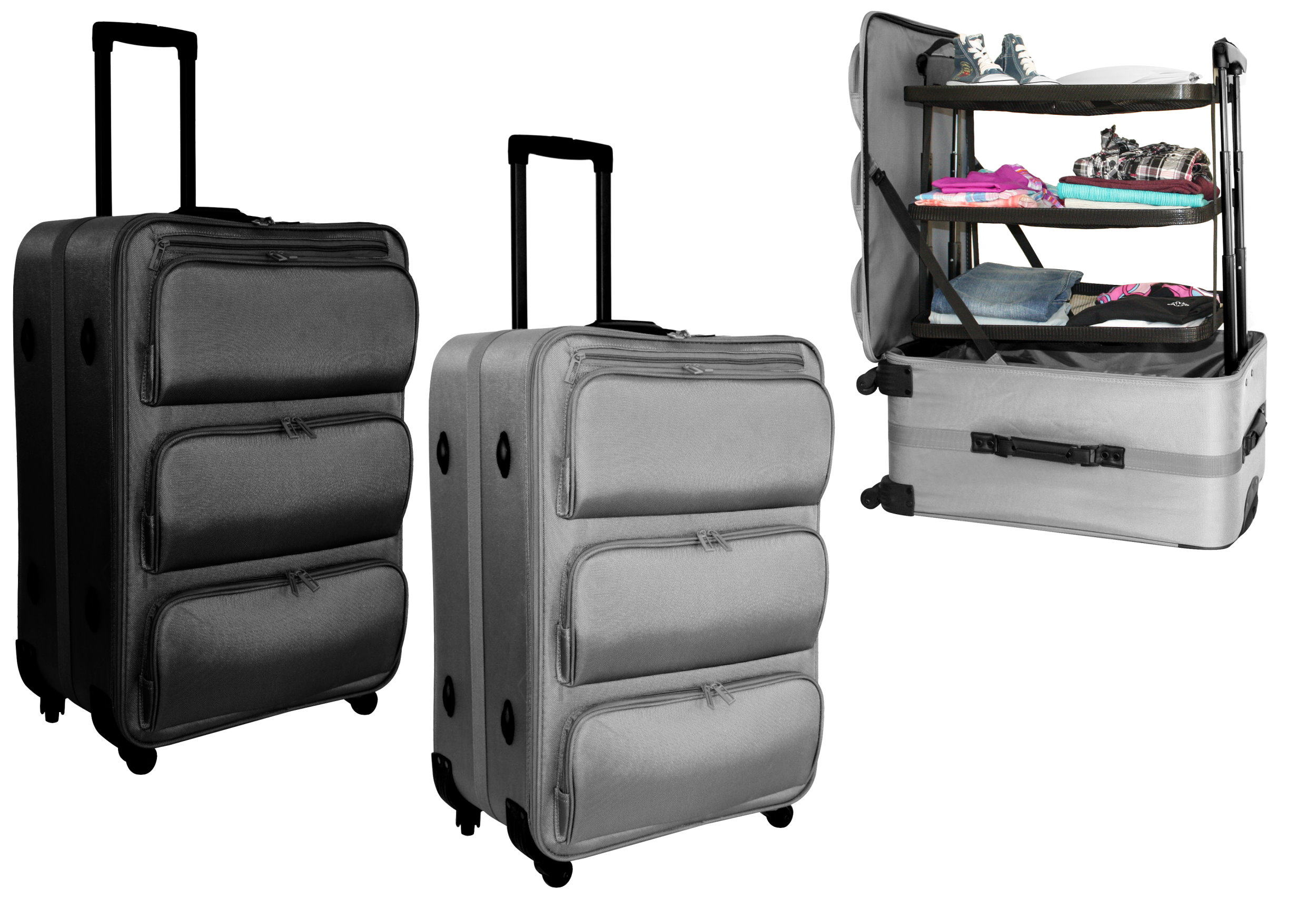 xl koffer 60l trolley reisekoffer 71cm reise gep ck regalsystem herausnehmbar ebay. Black Bedroom Furniture Sets. Home Design Ideas