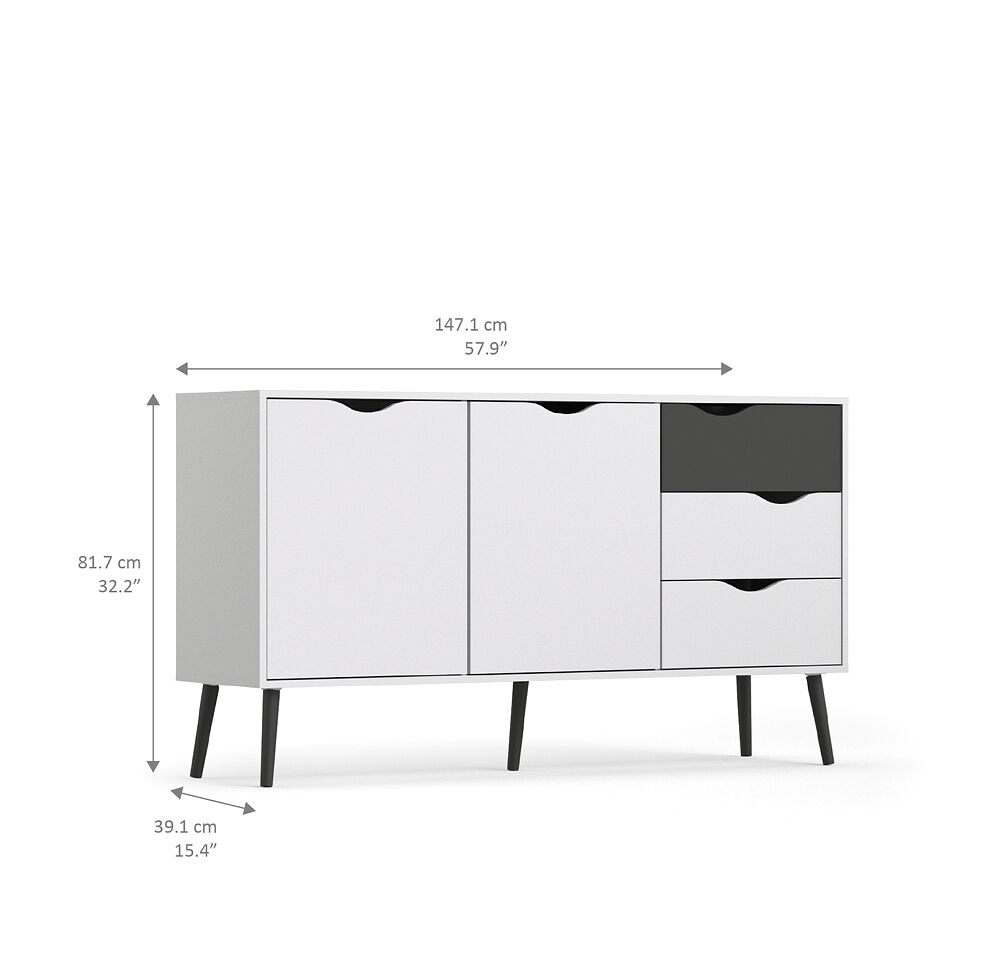 sideboard napoli kommode anrichte schrank highboard schwarz wei m bel wohnen schr nke vitrinen. Black Bedroom Furniture Sets. Home Design Ideas