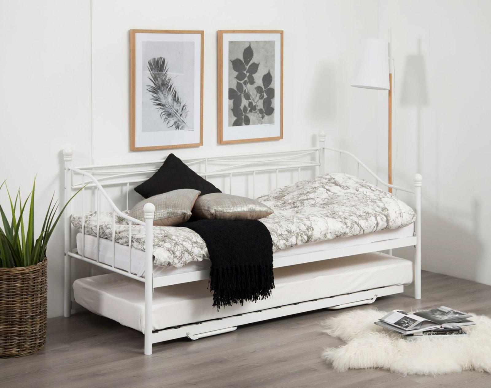 pkline metallbett oline in wei mit auszug 90x190 bett jugendbett tagesbett ebay. Black Bedroom Furniture Sets. Home Design Ideas