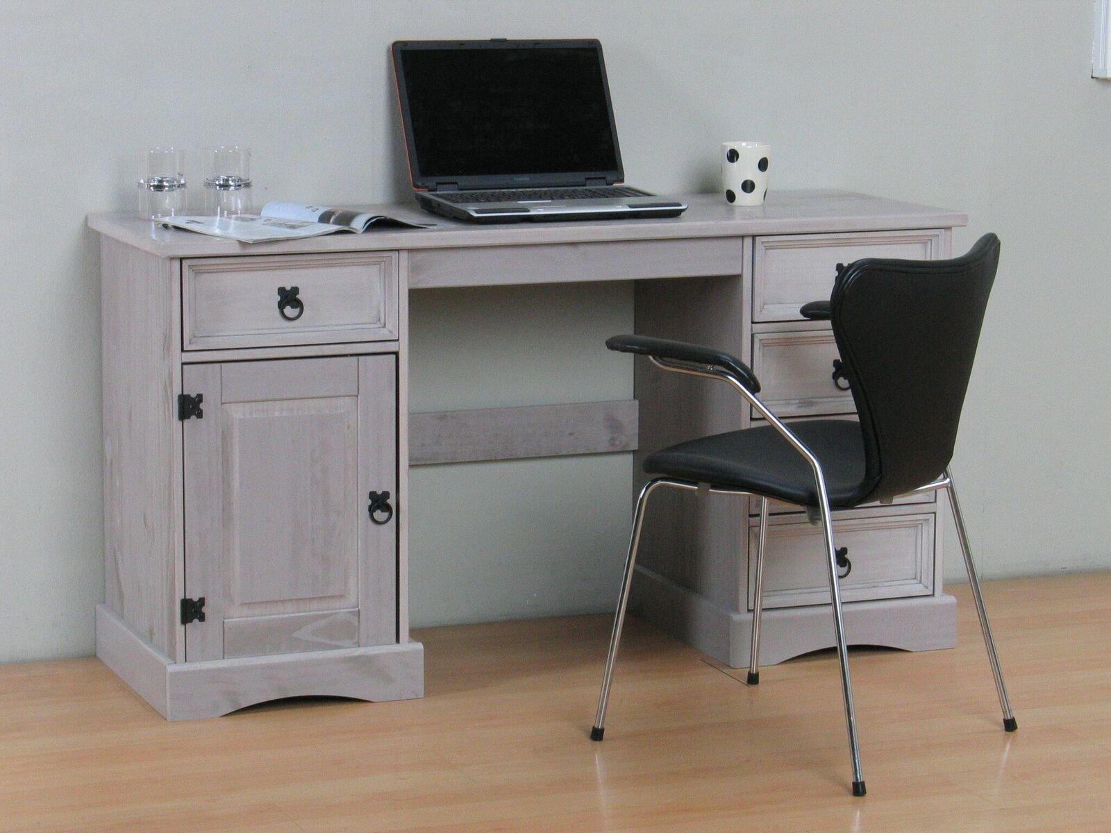 Schreibtisch new mexico kiefer massiv grau arbeitstisch for Pc schreibtisch kiefer