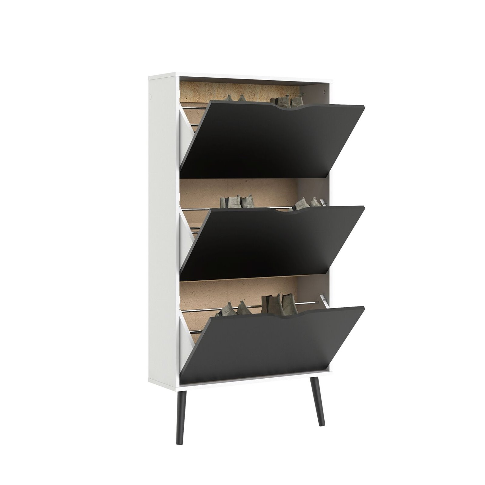 schuhschrank napoli schuhkipper schuhregal flur dielen schrank schwarz wei m bel wohnen flur. Black Bedroom Furniture Sets. Home Design Ideas