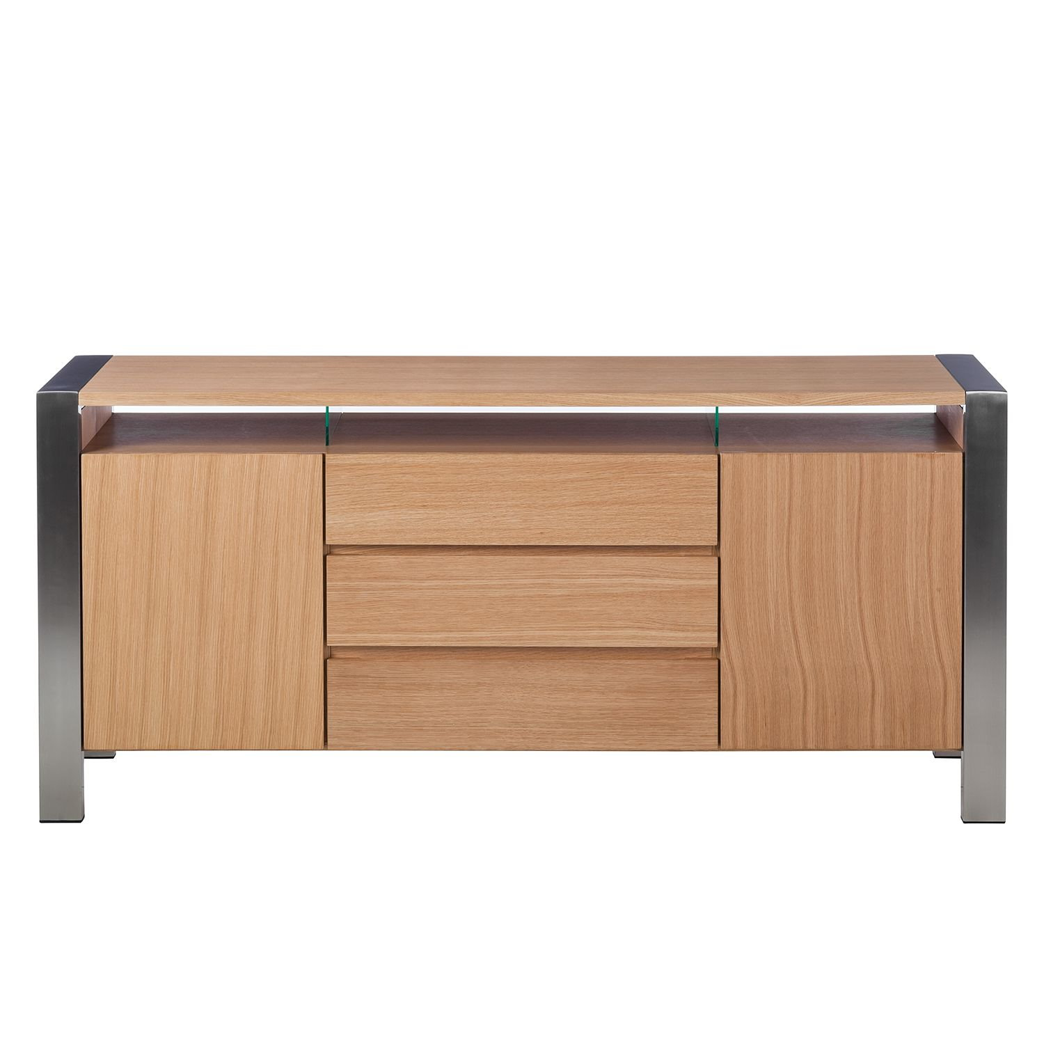 xl sideboard eiche edelstahl kommode anrichte schubladen. Black Bedroom Furniture Sets. Home Design Ideas