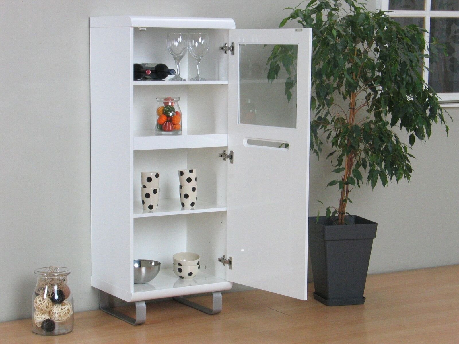 vitrine spacy hochglanz wei glas vitrinenschrank schrank standvitrine m bel wohnen wohnzimmer. Black Bedroom Furniture Sets. Home Design Ideas
