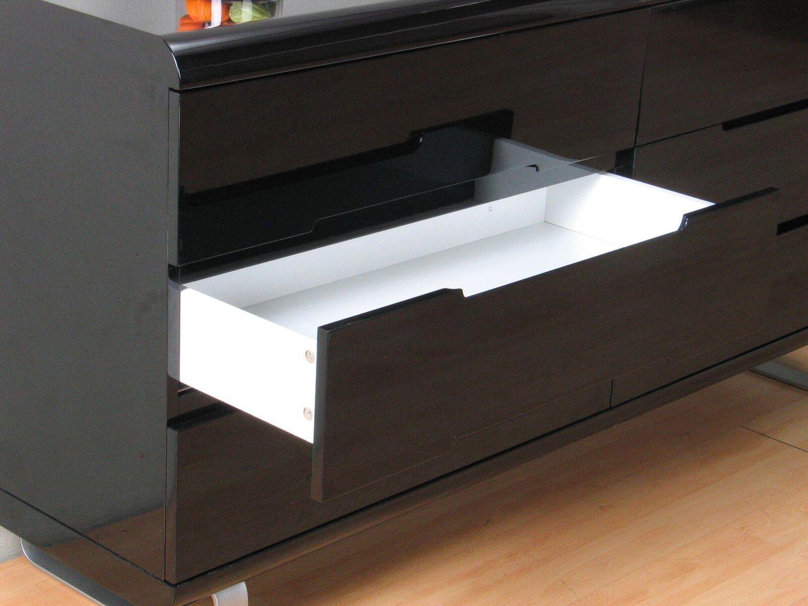 kommode spacy hochglanz schwarz sideboard schubladen schrank highboard m bel wohnen wohnzimmer. Black Bedroom Furniture Sets. Home Design Ideas