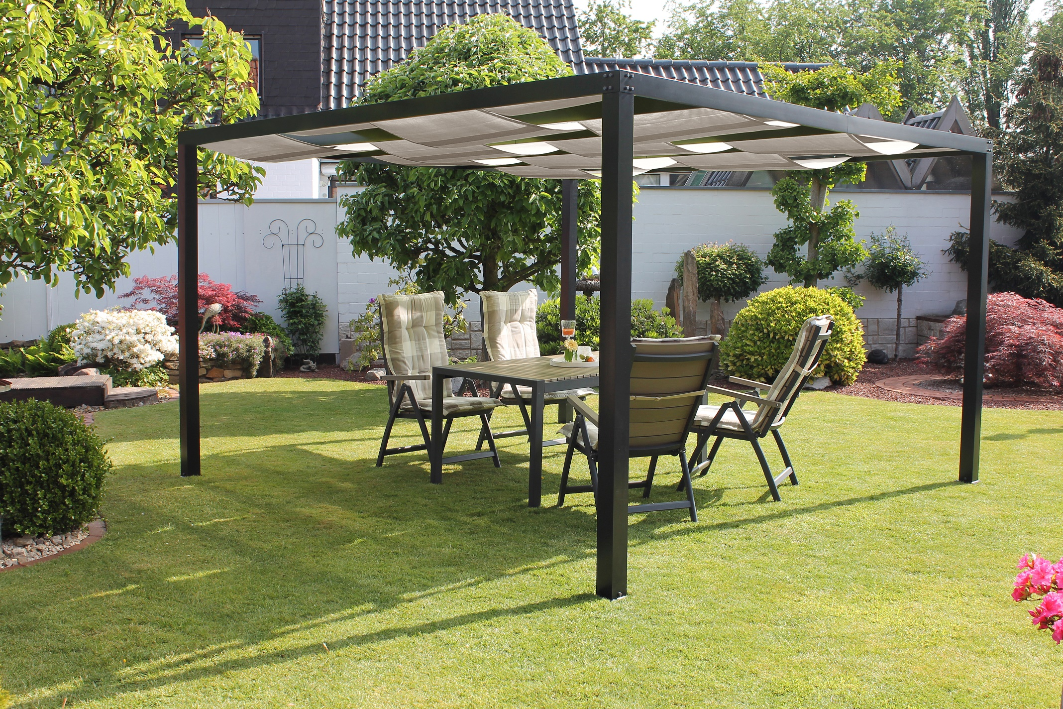 leco alu pergola loft 360x360cm terrasse berdachung pavillon sonnenschutz garten m bel. Black Bedroom Furniture Sets. Home Design Ideas