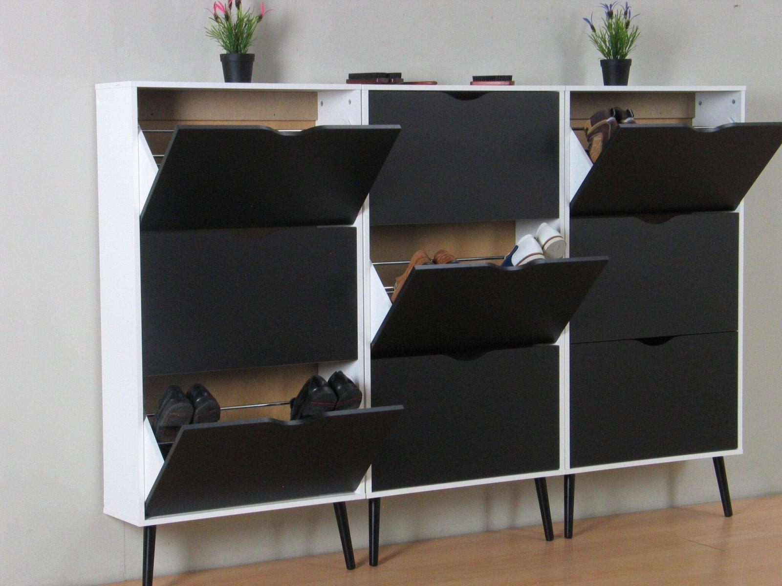 3x schuhschrank napoli schuhkipper schuhregal flur dielen schrank schwarz wei ebay. Black Bedroom Furniture Sets. Home Design Ideas