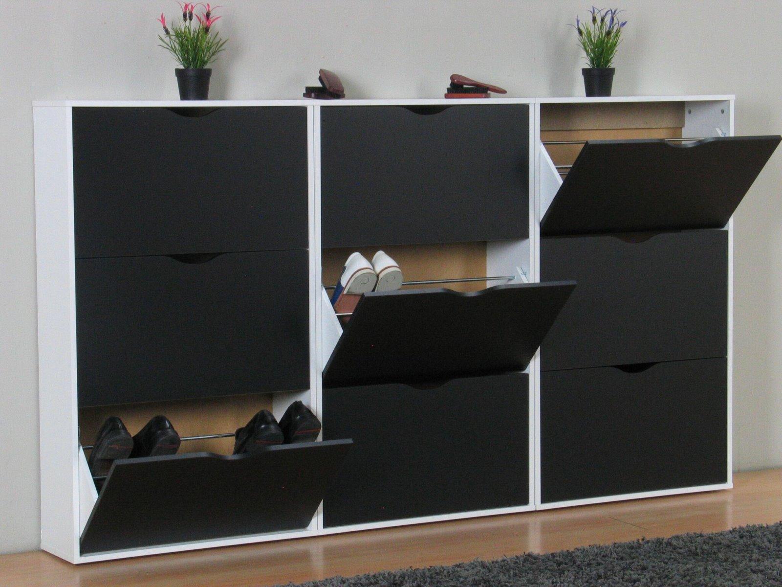 3x schuhschrank napoli schuhkipper schuhregal flur dielen schrank schwarz wei m bel wohnen flur. Black Bedroom Furniture Sets. Home Design Ideas
