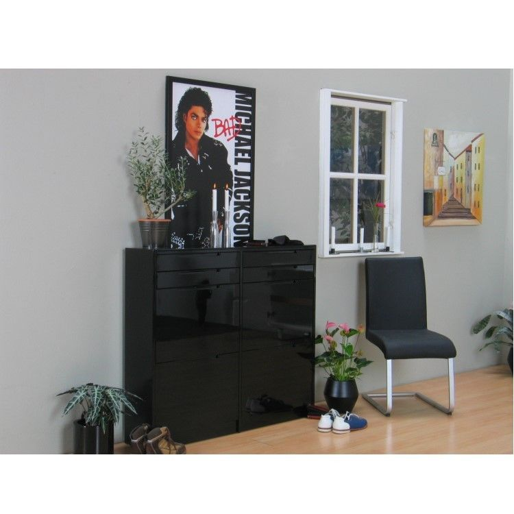 schuhschrank berlin schuhkipper schuhregal flur dielen schrank schwarz hochglanz m bel wohnen flur. Black Bedroom Furniture Sets. Home Design Ideas