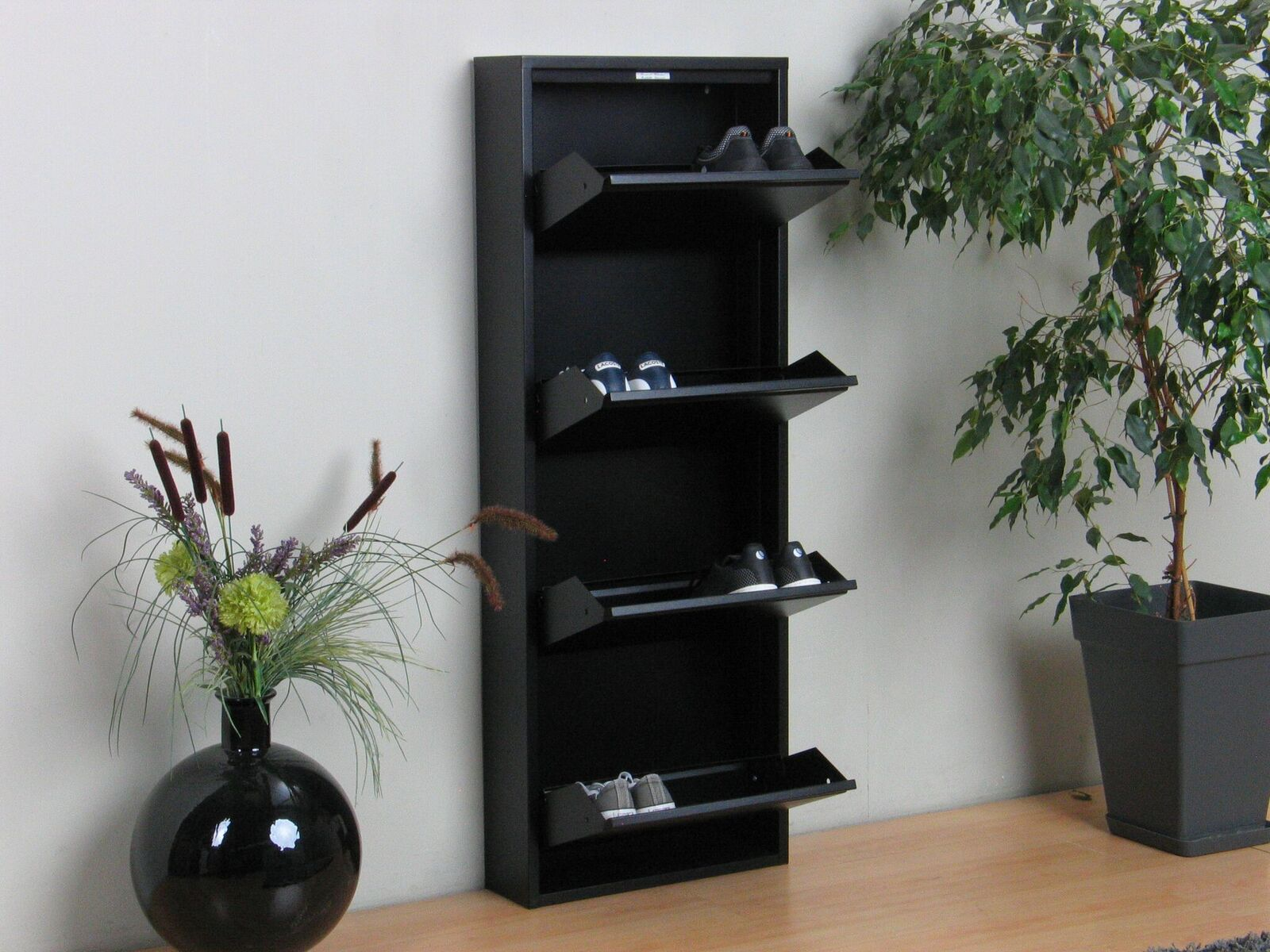 schuhschrank pisa 4 klappen metall schuhkipper schuhregal. Black Bedroom Furniture Sets. Home Design Ideas