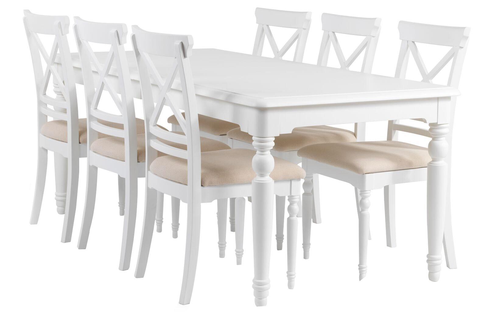 essgruppe charlot esstisch 6 st hle tischgruppe esszimmer tisch stuhl wei 7435110679687 ebay. Black Bedroom Furniture Sets. Home Design Ideas