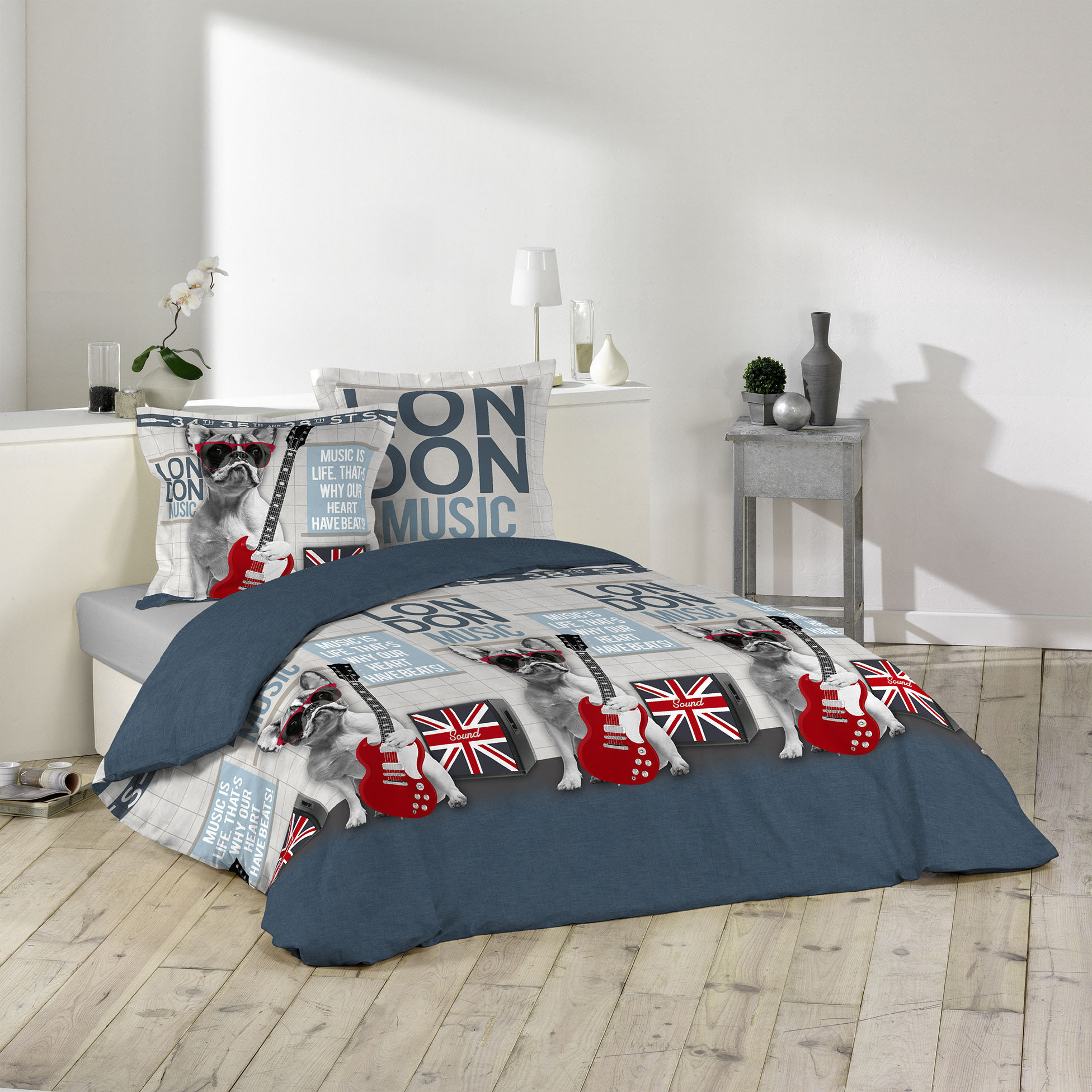 3tlg bettw sche london 240x220 franz sische bulldogge bett decke bergr e m bel wohnen. Black Bedroom Furniture Sets. Home Design Ideas