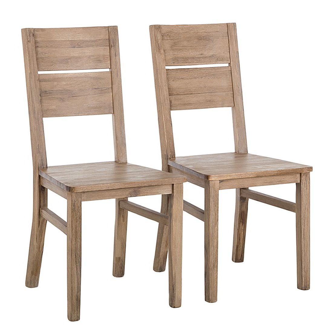 2x Esszimmerstuhl Akazie massiv Esszimmer Küchen Holz Stuhl Stühle ...