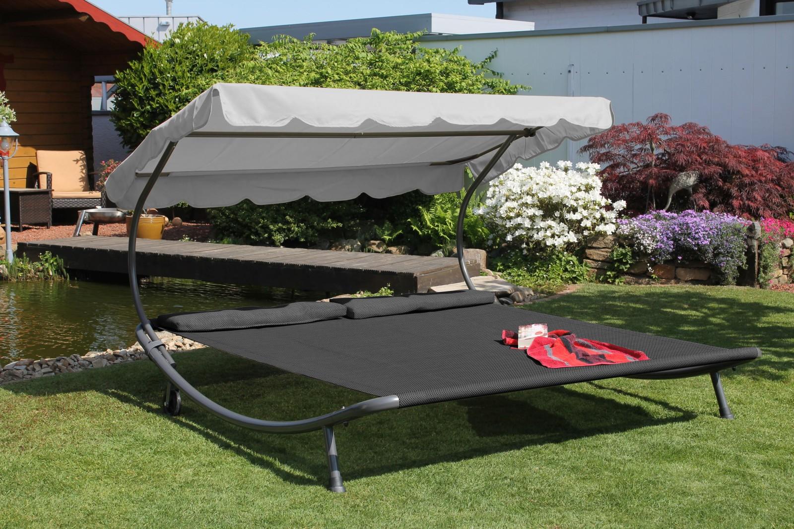 Doppelliegen für den garten  Leco Luxus Doppelliege + Dach + Kissen 2x2m Garten Liege Sonnenliege ...