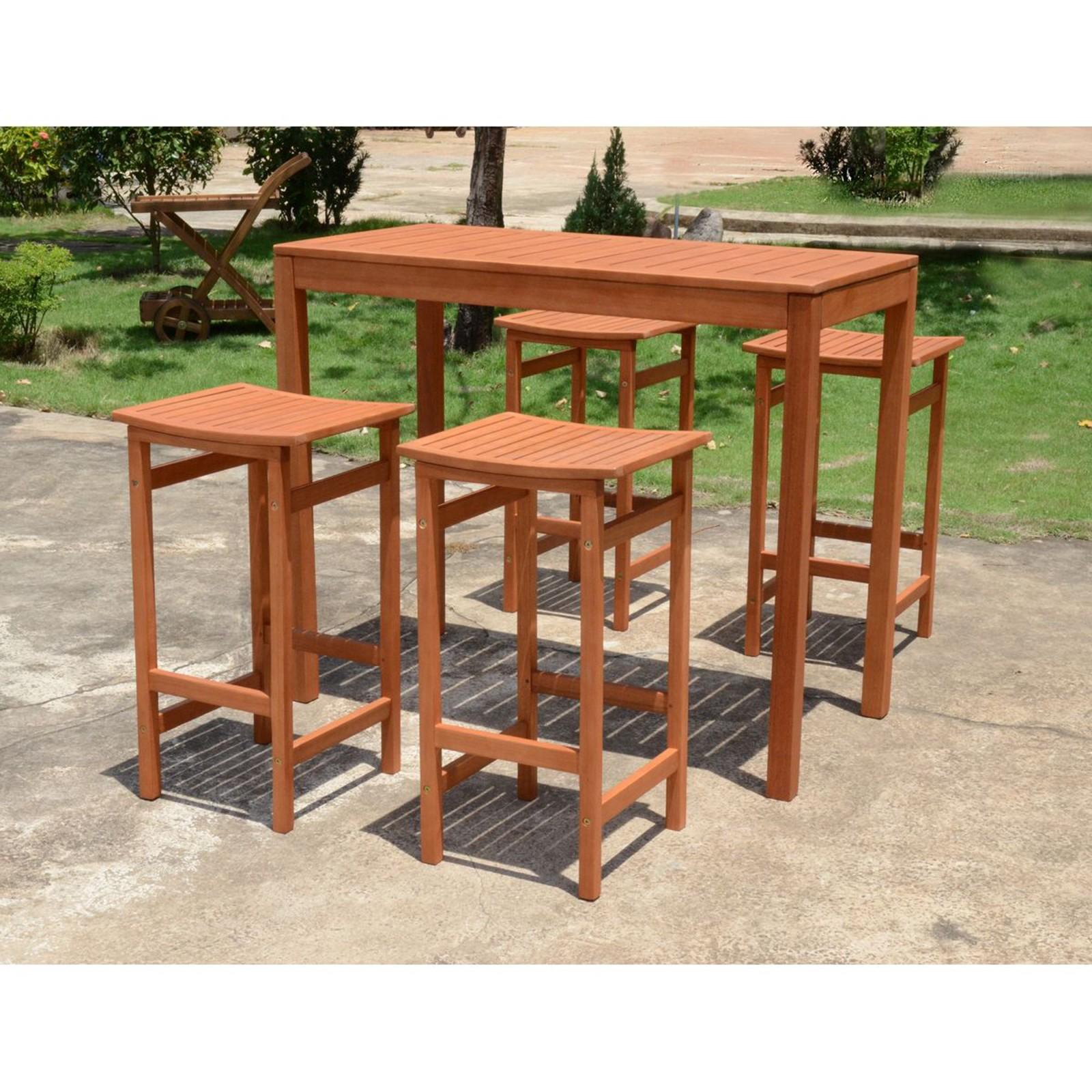 Bar Set Bartisch Barhocker Garnitur Sitzgruppe Holz Garten Hocker Stuhl  Tisch