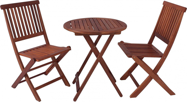 Garden Pleasure Balkontischgruppe Holz Tisch Stuhl Klapptisch ...