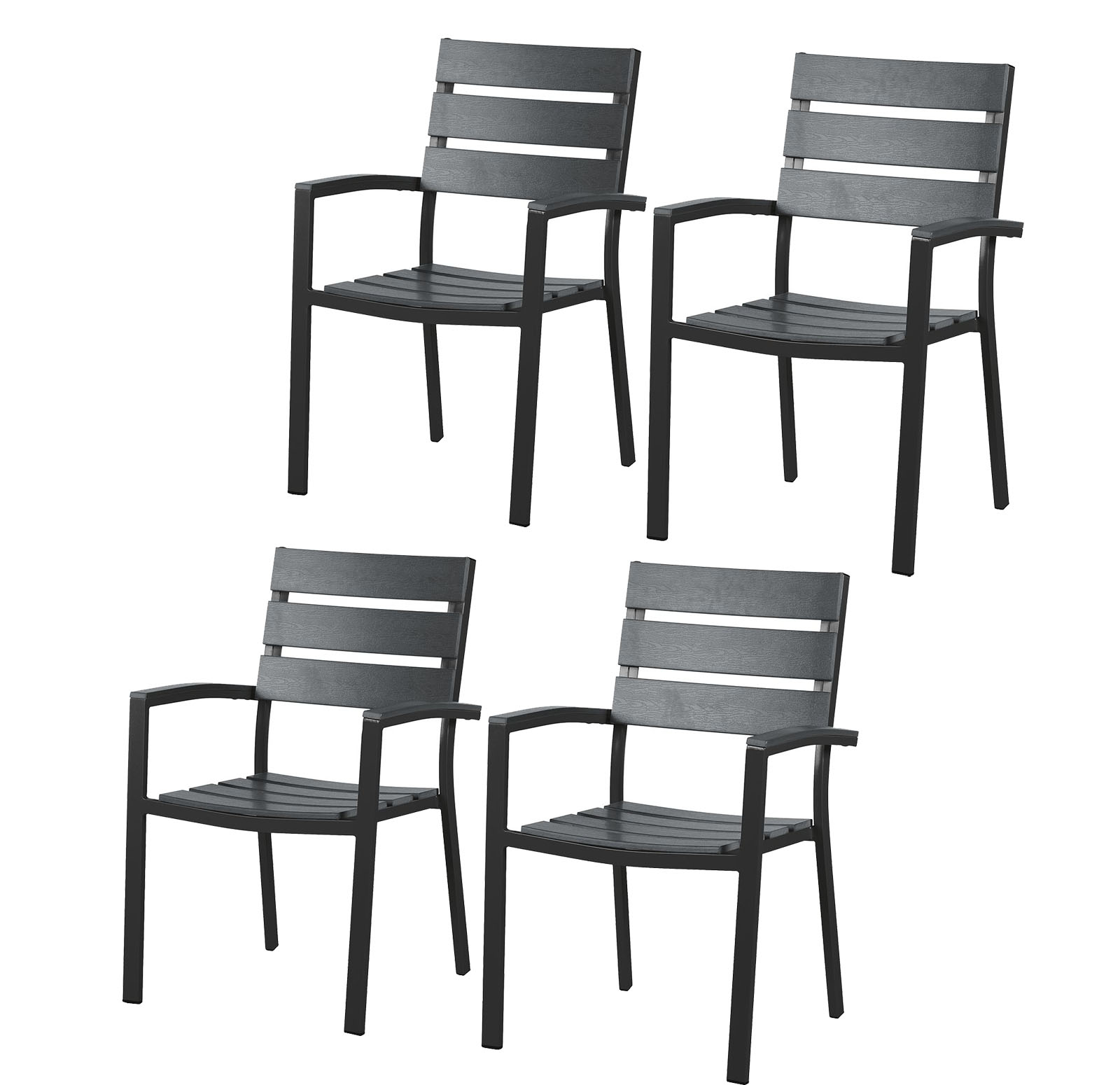 4x gartenstuhl polywood aluminium alu sessel stuhl set holz gartenm bel schwarz ebay. Black Bedroom Furniture Sets. Home Design Ideas