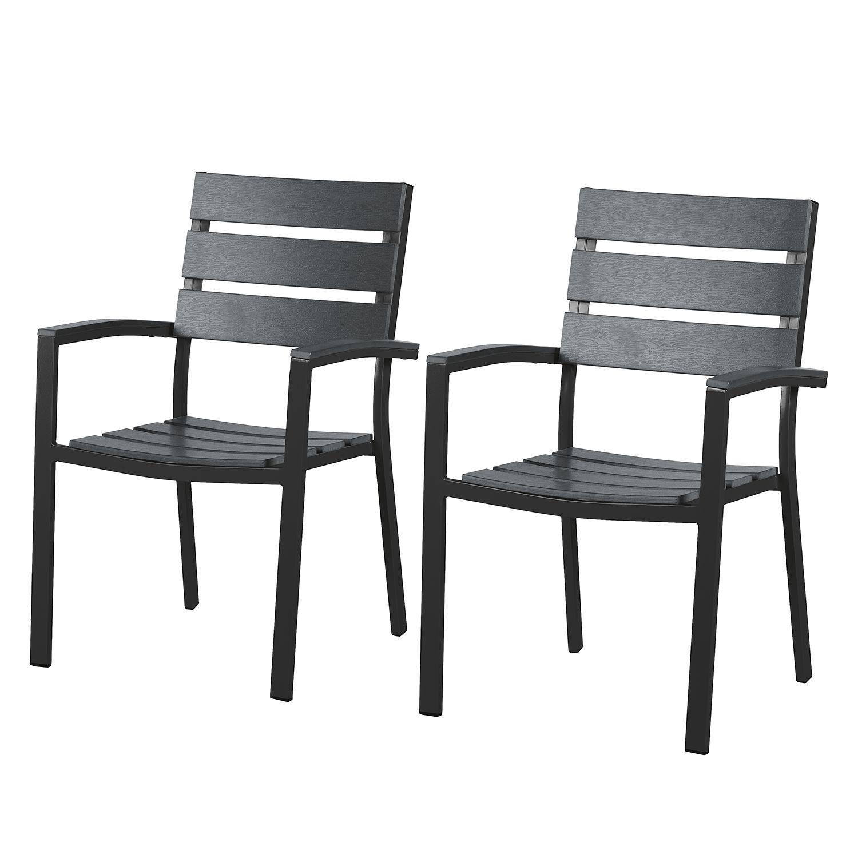 2x Alu Polywood Stapelsessel Gartenstuhl Aluminium Sessel Stuhl Set Holz Optik