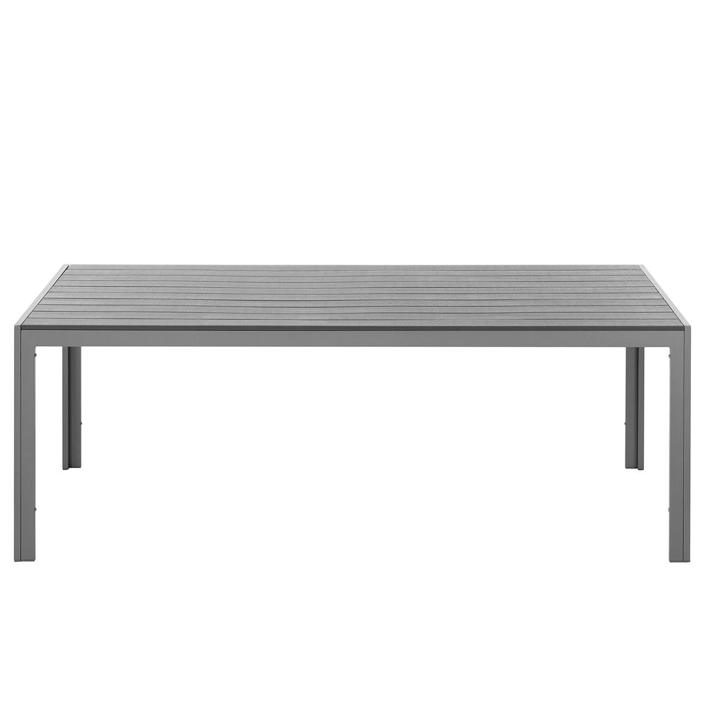 Gartentisch Polywood Aluminium silber 150x90cm Alu Tisch Holz Optik ...