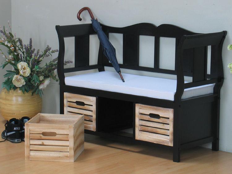 holz sitzbank kissen k rbe sideboard kommode flur diele bank teilmassiv ebay. Black Bedroom Furniture Sets. Home Design Ideas
