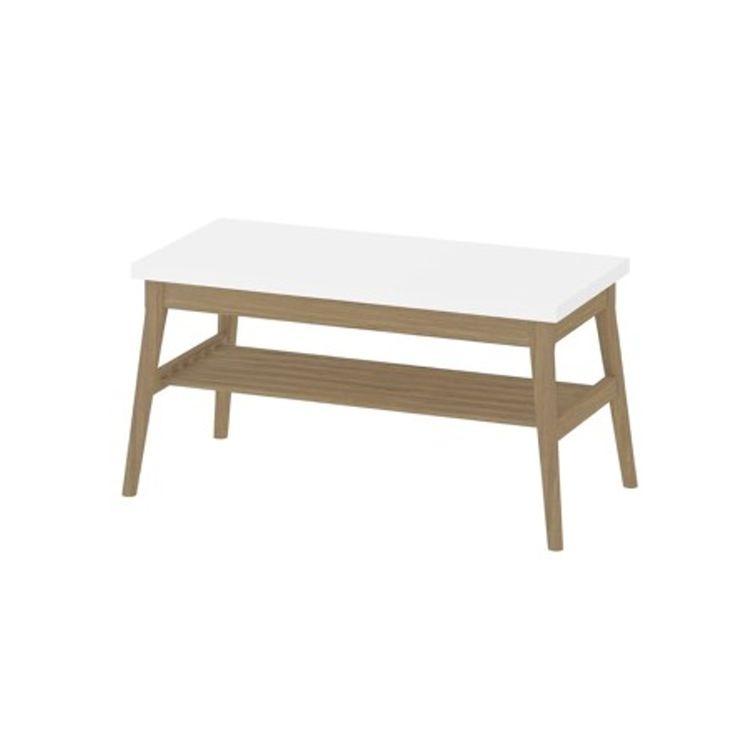 Couchtisch METRO Wohnzimmertisch Tisch Eiche Massiv Weiss