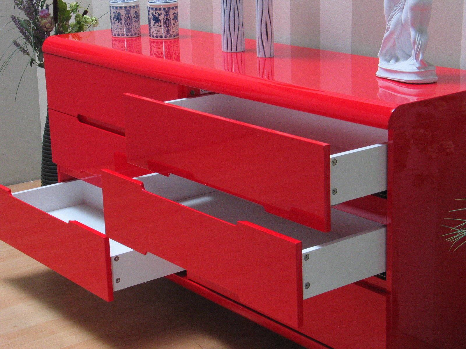 kommode spacy hochglanz rot schubladen schrank sideboard. Black Bedroom Furniture Sets. Home Design Ideas