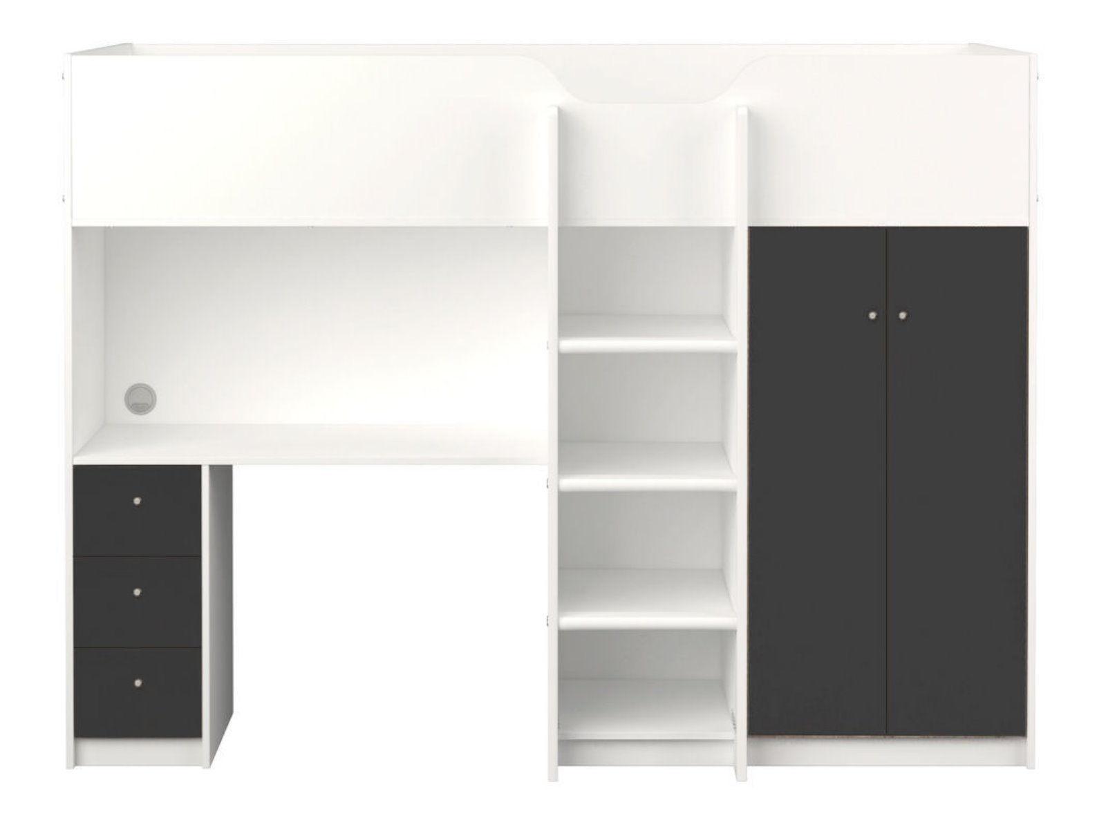 etagenbett irma 90x200 multifunktionsbett mit schreibtisch und schrank wei grau ebay. Black Bedroom Furniture Sets. Home Design Ideas