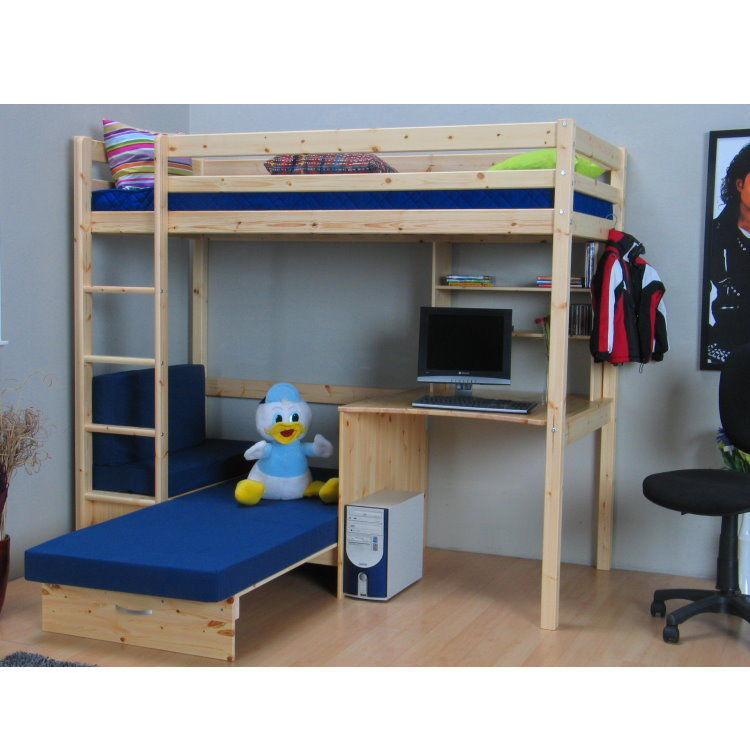 Thuka hochbett 90x200 kiefer massiv bett kinderbett for Couch unter hochbett