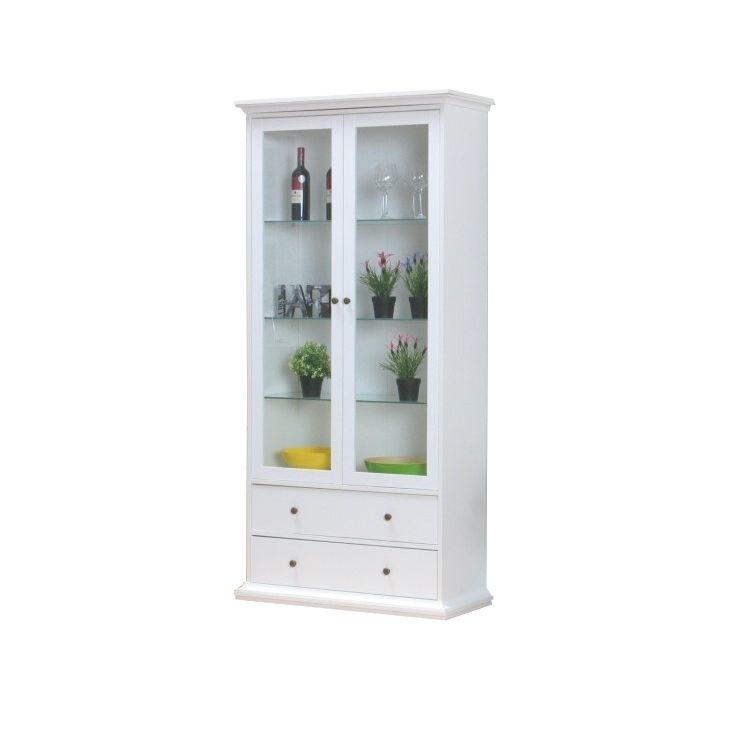 vitrinenschrank paris glas vitrine aufsatzbuffet buffet anrichte kommode wei ebay. Black Bedroom Furniture Sets. Home Design Ideas