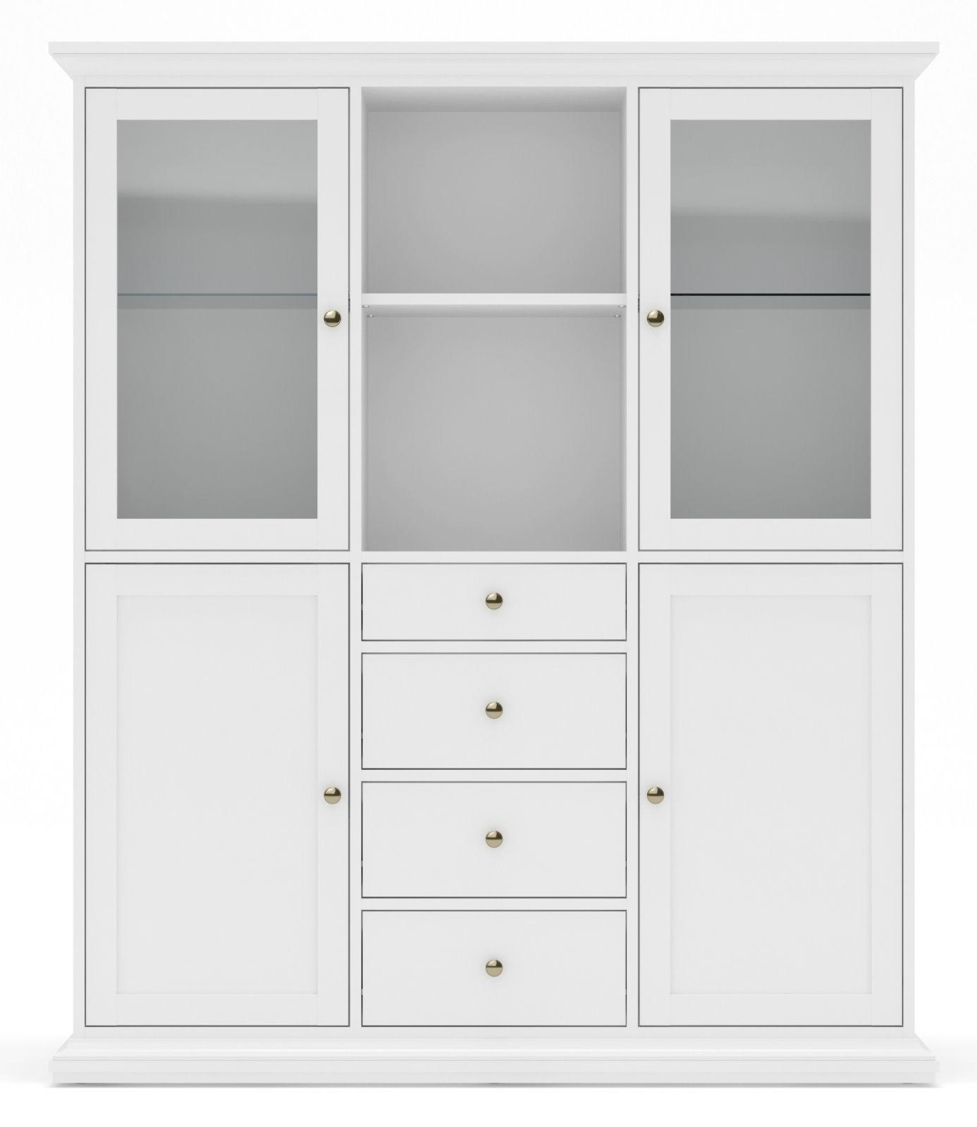 vitrinenschrank paris glas vitrine aufsatzbuffet buffet anrichte schrank wei m bel wohnen. Black Bedroom Furniture Sets. Home Design Ideas