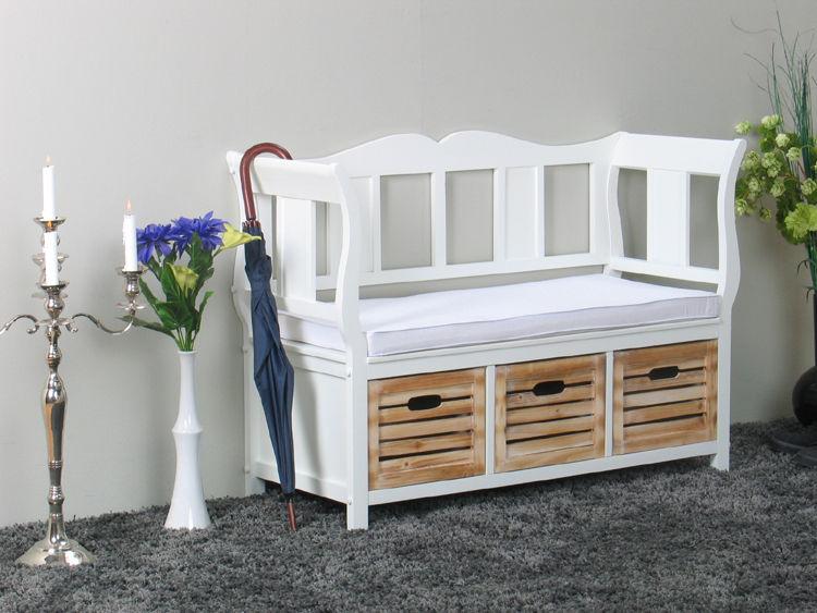 holz sitzbank kissen k rbe sideboard kommode flur diele bank aufbewahrung ebay. Black Bedroom Furniture Sets. Home Design Ideas