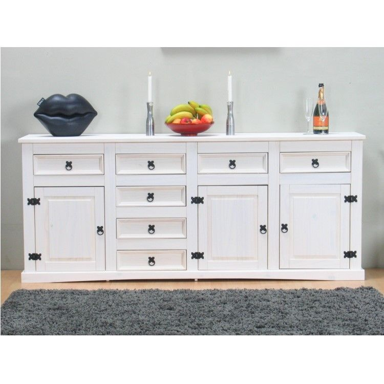 sideboard new mexiko holz anrichte buffet schubladen kommode schrank wei ebay. Black Bedroom Furniture Sets. Home Design Ideas