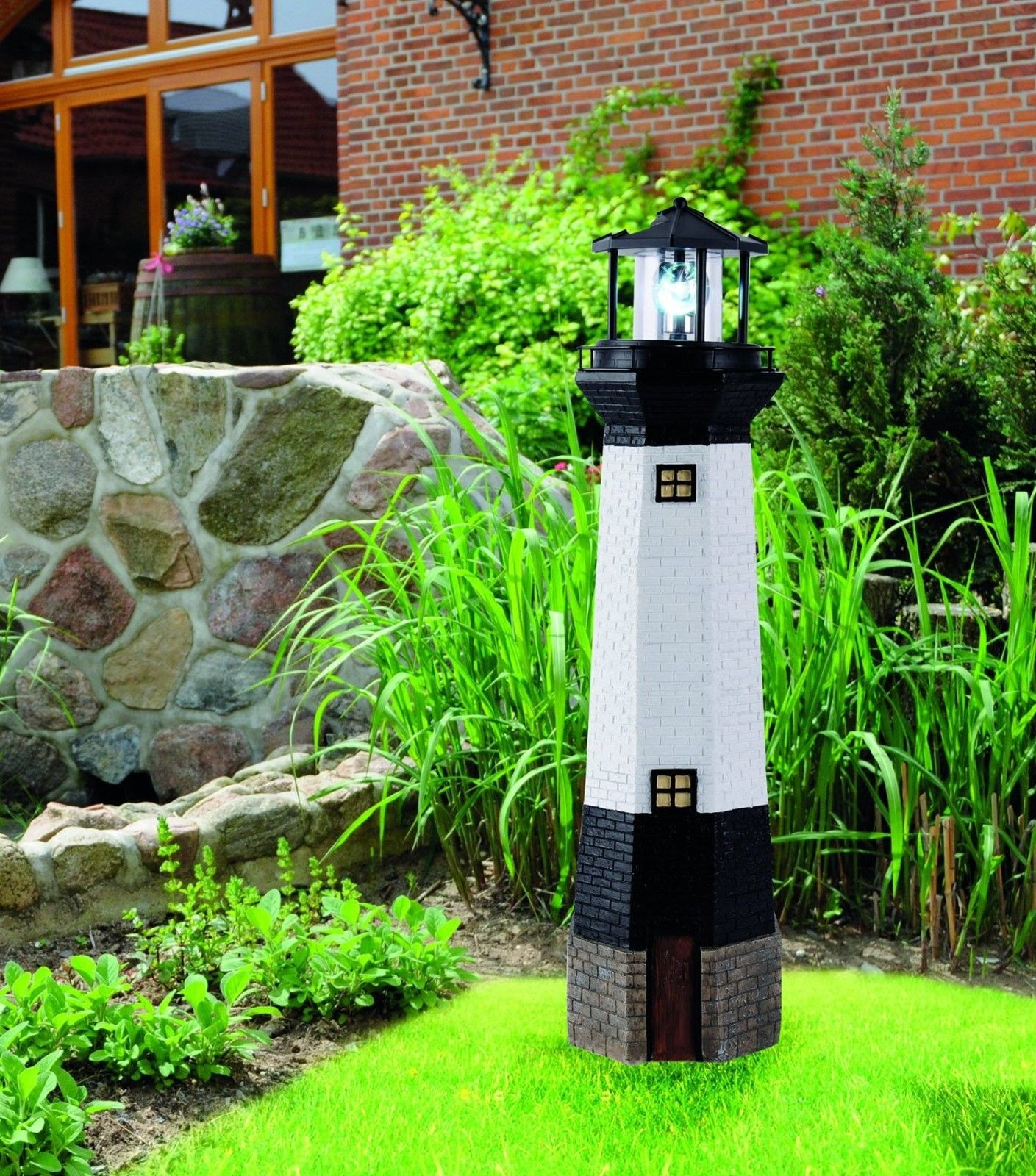 solar 102cm leuchtturm rundum solarbeleuchtung garten beleuchtung solarleuchte 4250303813753 ebay. Black Bedroom Furniture Sets. Home Design Ideas