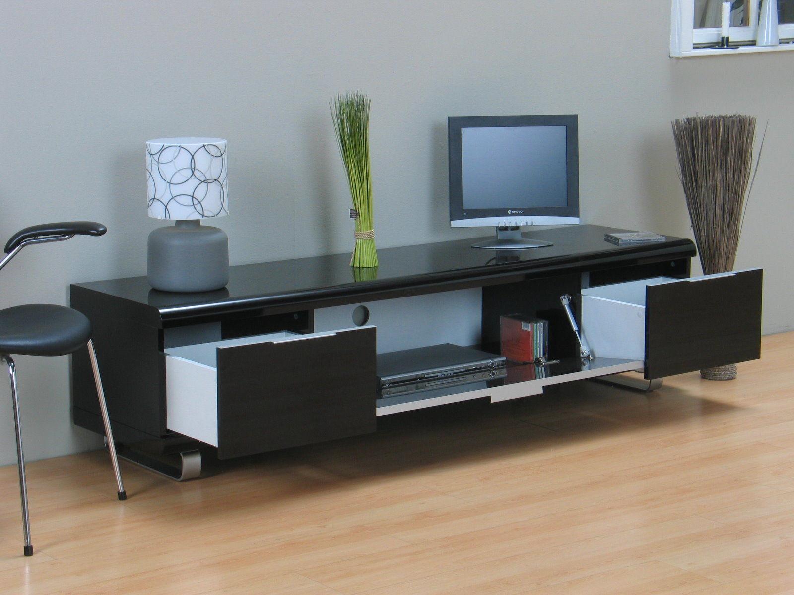 tv board milano hifi tv m bel board lowboard schrank kommode schwarz hochglanz ebay. Black Bedroom Furniture Sets. Home Design Ideas