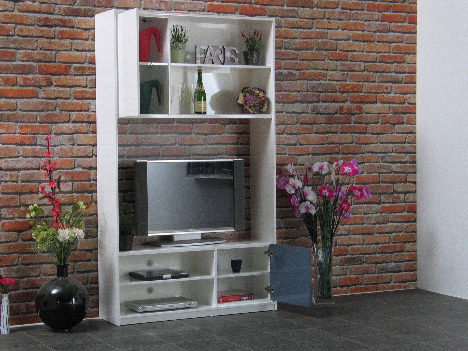 wohnwand uptown hochglanz grau weiss schrankwand regal tv hifi fernseher m bel ebay. Black Bedroom Furniture Sets. Home Design Ideas