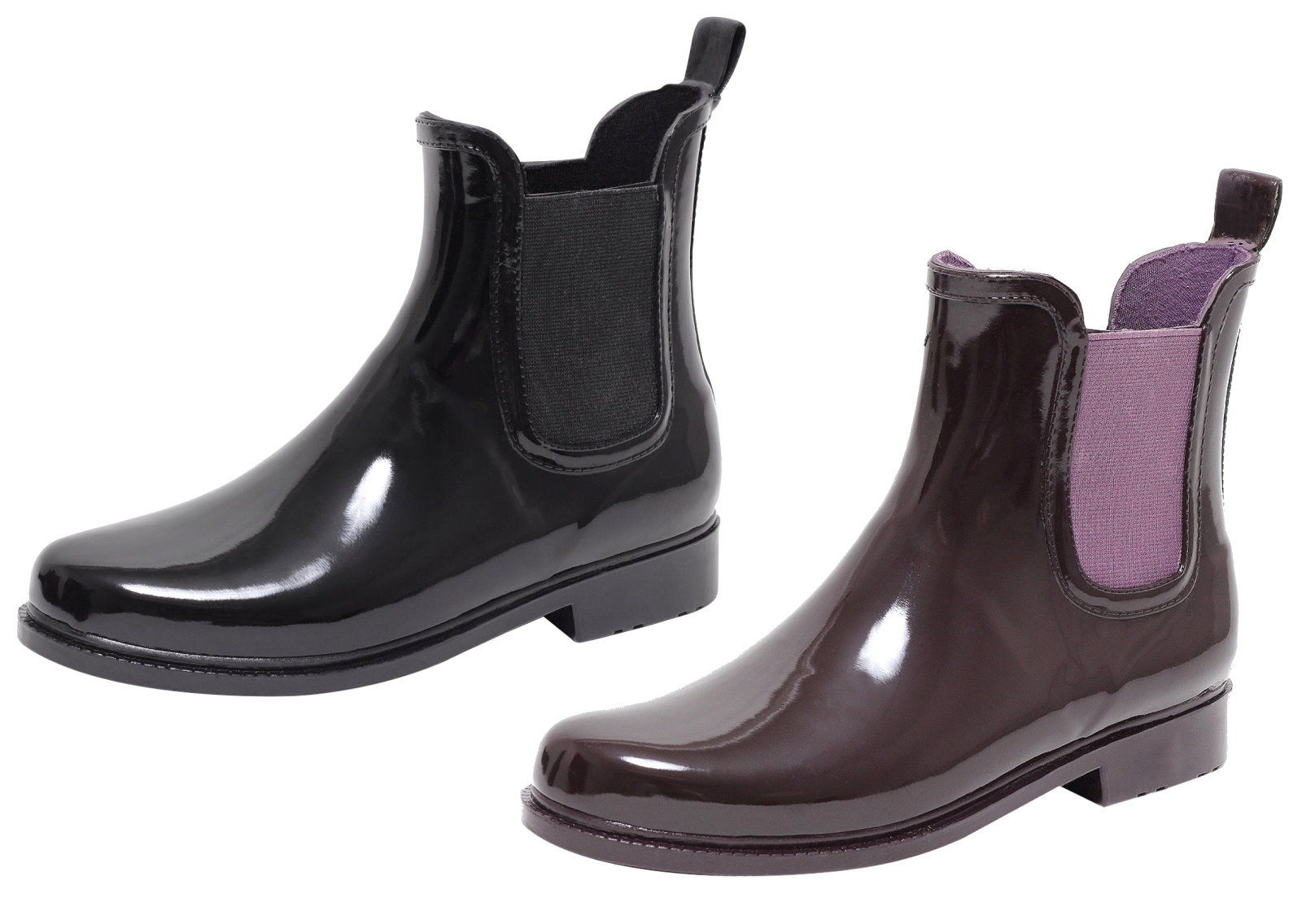 damen lack stiefeletten gummistiefel chelsea jelly boots schuhe regenstiefel kleidung damenschuhe. Black Bedroom Furniture Sets. Home Design Ideas
