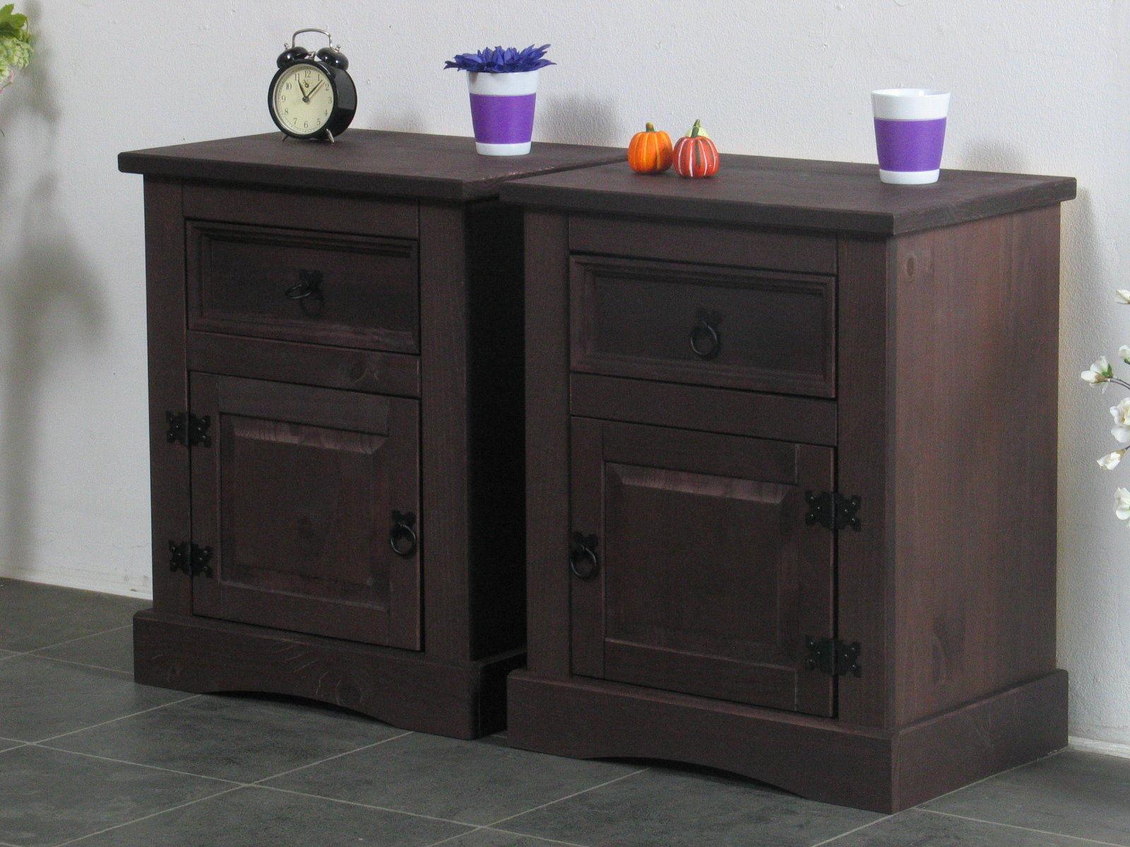 2x nachtschrank new mexiko mexico nachttisch nachtkonsole. Black Bedroom Furniture Sets. Home Design Ideas
