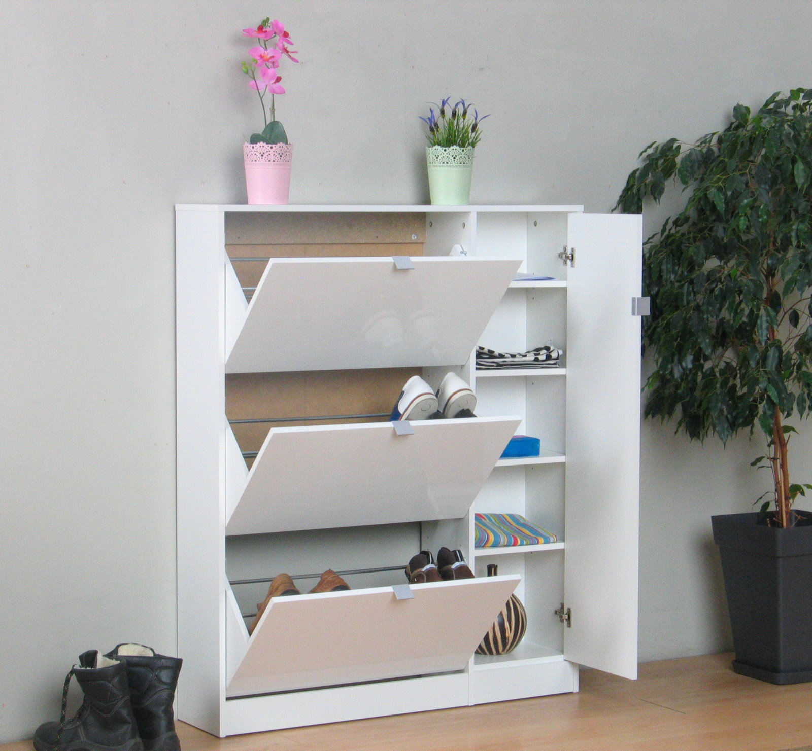 meuble chaussures lumi re blanc haute brillance armoire de couloir dielen ebay. Black Bedroom Furniture Sets. Home Design Ideas