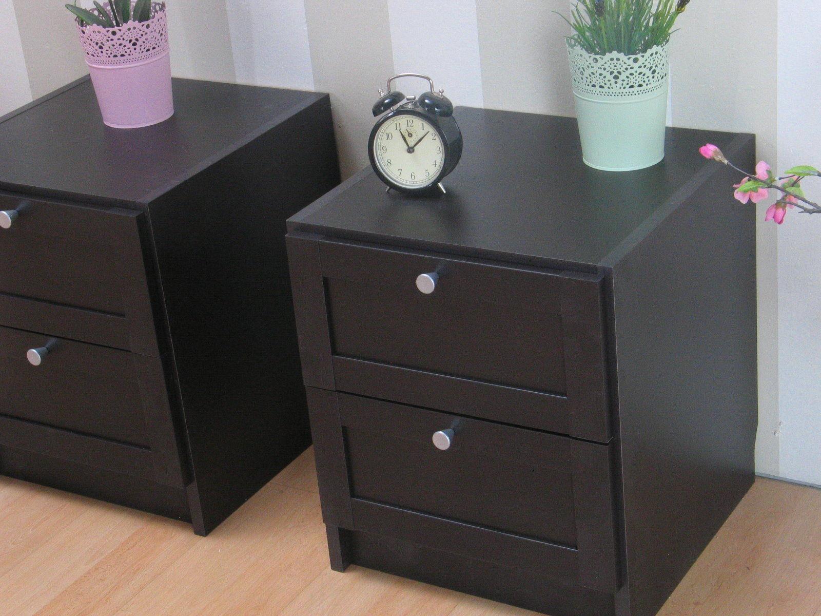 2x Nachttisch Beth Nachtkonsole Nachtschrank Schlafzimmer Beistelltisch braun  eBay