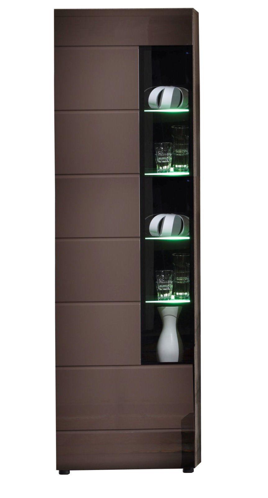 vitrine john trend beleuchtung wohnzimmer schrank m bel braun hochglanz ebay. Black Bedroom Furniture Sets. Home Design Ideas