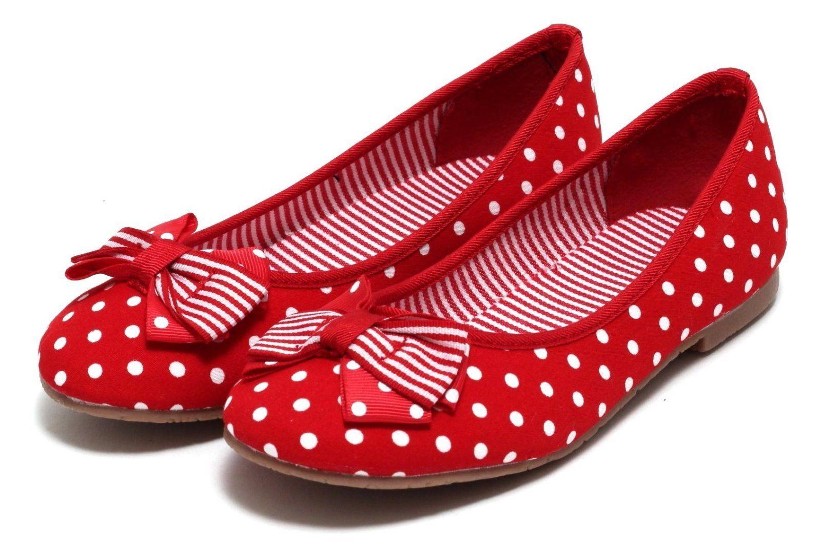 m dchen ballerina rockabilly sommerschuhe schuhe sandalen slipper punkte rot ebay. Black Bedroom Furniture Sets. Home Design Ideas