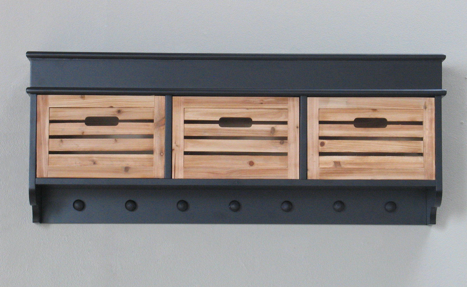 flur garderobe anna 3 holzkisten dielen wandgarderobe wandregal regal schwarz dynamic. Black Bedroom Furniture Sets. Home Design Ideas