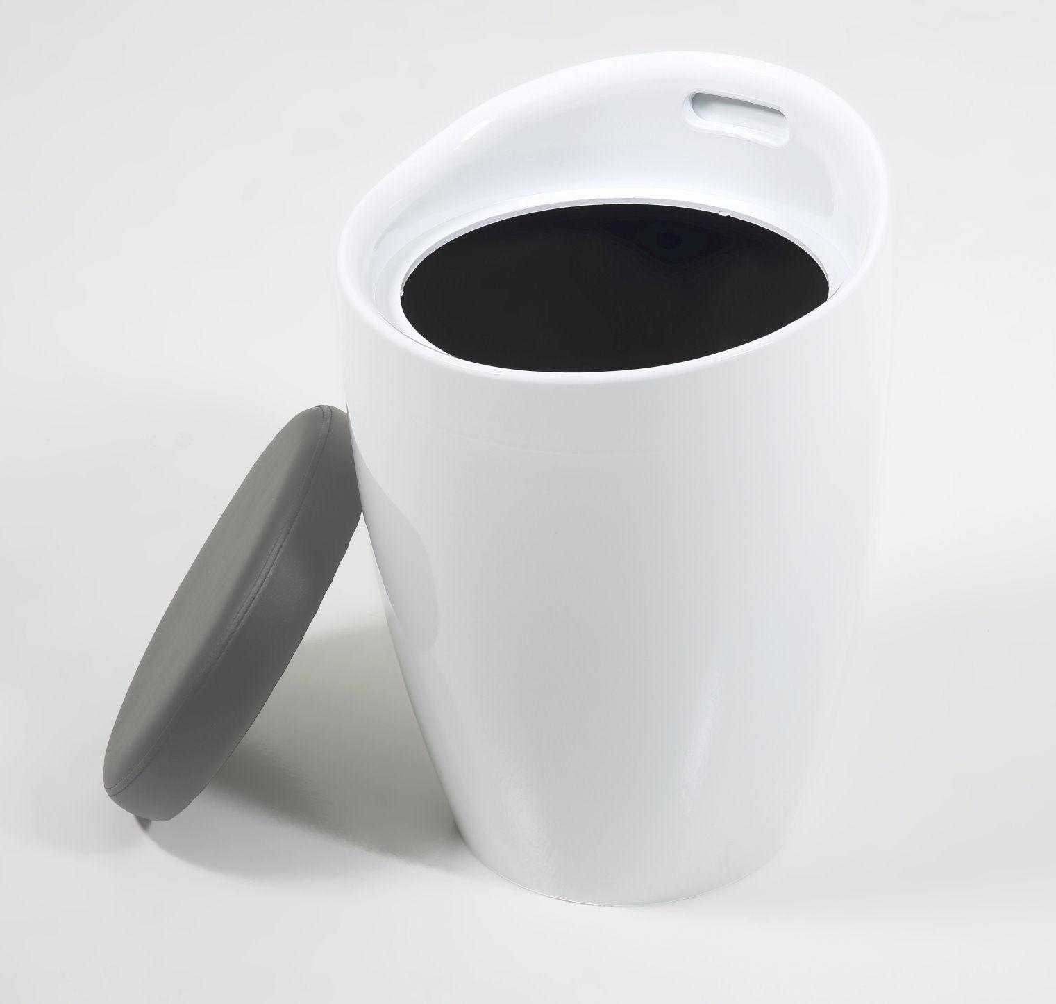 pkline hocker weiss mit grauem sitzkissen sitzhocker. Black Bedroom Furniture Sets. Home Design Ideas